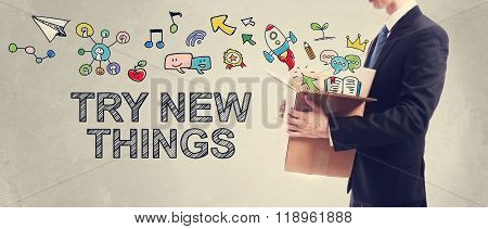 Try New Things Concept With Businessman Holding Box