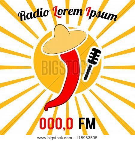 Vector sign (card, poster): cartoon chili pepper in sombrero with mic, sunburst background. Radio or karaoke logo