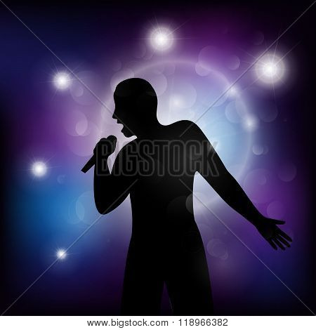 Vector Illustration Of   Singer