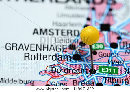 Dordrecht pinned on a map of Netherlands