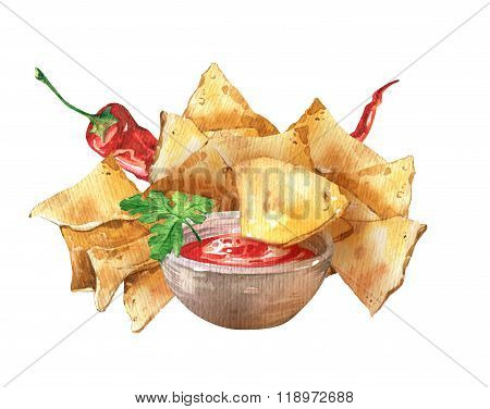 Mexican nacho chips and salsa sauce