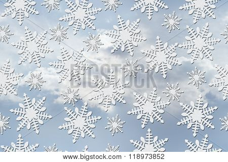 White Snowflake Pattern Repeat Background