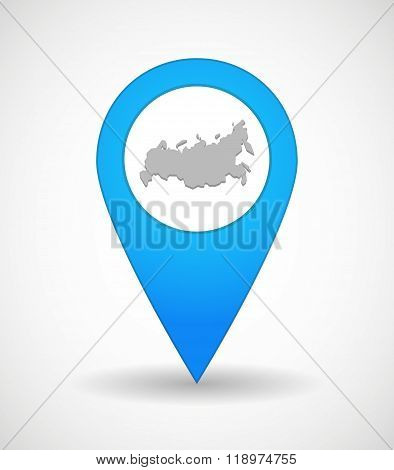 Map Mark Icon With  A Map Of Russia