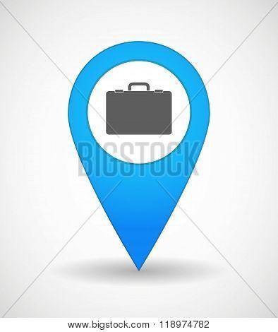 Map Mark Icon With  A Breiefcase