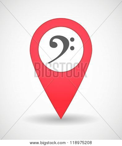 Map Mark Icon With An F Clef