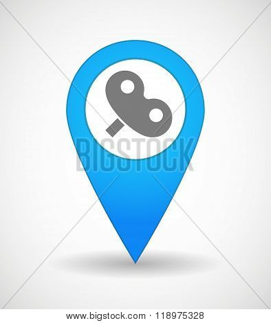 Map Mark Icon With A Toy Crank