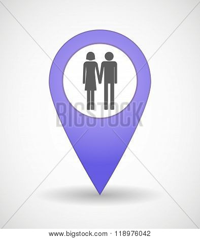 Map Mark Icon With A Heterosexual Couple Pictogram