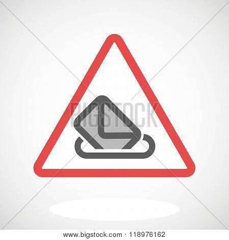 Warning Signal Icon With  A Ballot Box