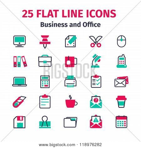 Set Of 25 Flat Line Icons