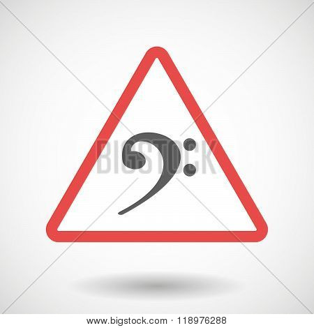 Warning Signal Icon With An F Clef