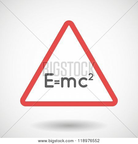 Warning Signal Icon With The Theory Of Relativity Formula