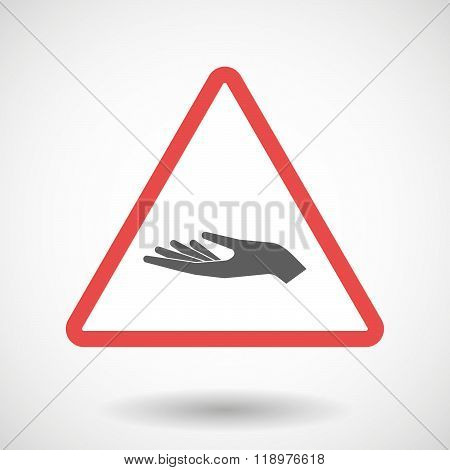 Warning Signal Icon With A Hand Offering