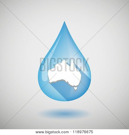 Long Shadow Water Drop Icon With  A Map Of Australia