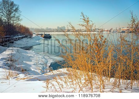 Angara River At Irkutsk City At Winter