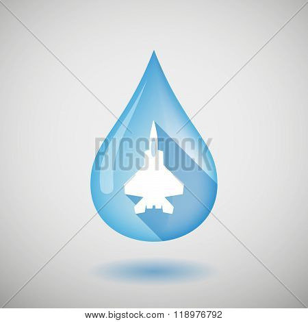Long Shadow Water Drop Icon With A Combat Plane
