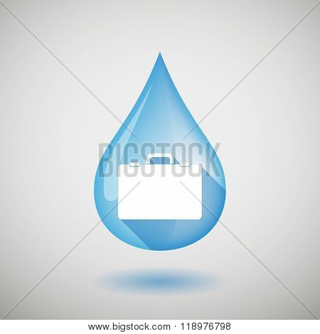Long Shadow Water Drop Icon With  A Breiefcase