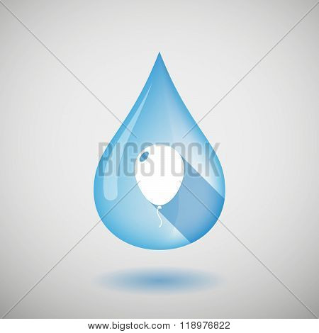 Long Shadow Water Drop Icon With A Balloon