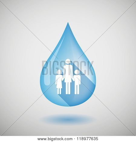 Long Shadow Water Drop Icon With A Female Single Parent Family Pictogram