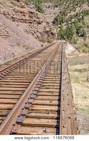 Railroad Tracks On Railroad Bridge