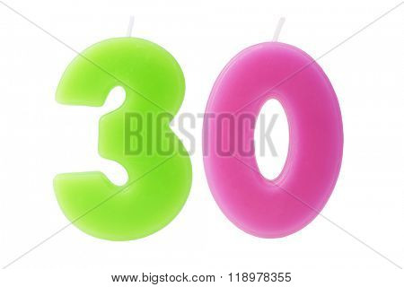 Colorful birthday candles in the form of the number 30 on white background