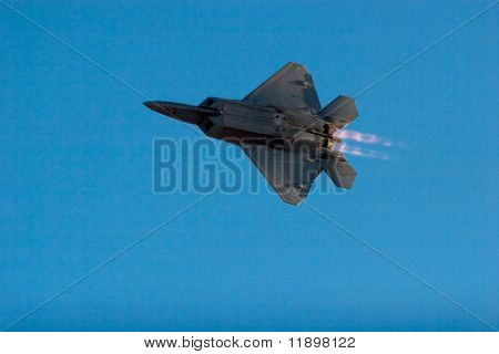 F-22 Raptor jet airplane during airshow