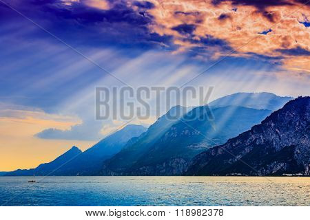 Garda Lake at dramatic sunset, Lago di Garda Italy