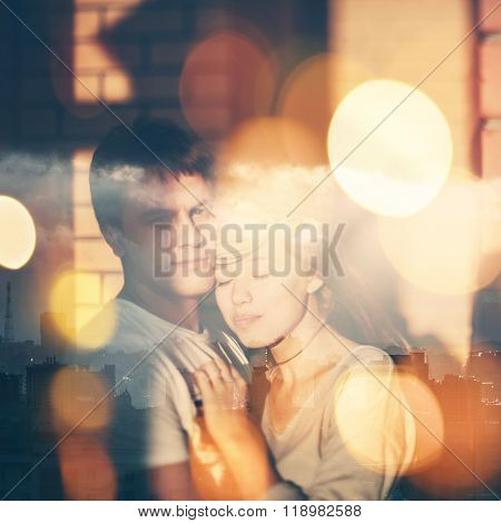 Double Exposure Portrait Of Loving Couple