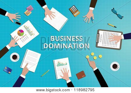 business domination concept work in desk with graph document
