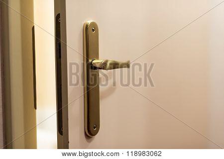 View From Open Wooden Door With Metallic Handle
