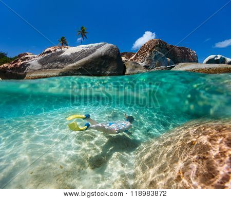 Split photo of young woman snorkeling in turquoise tropical water among huge granite boulders at The Baths beach area major tourist attraction on Virgin Gorda, British Virgin Islands, Caribbean