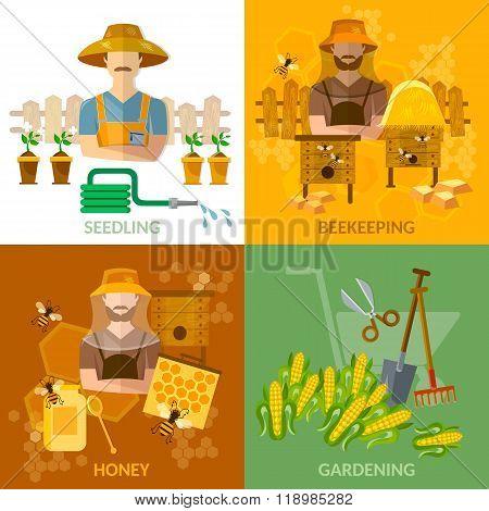 Gardening And Beekeeping Set Seedling Cultivation Apiary Beekeeper