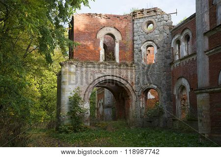 A fragment of the destroyed mansion of the manor Wrangel. Torosovo, Leningrad region