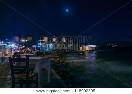 Night Scene Of The Village And Beach, Mykonos