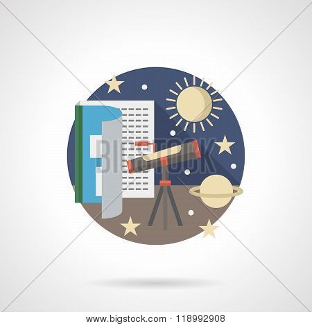 Space research detailed flat color vector icon