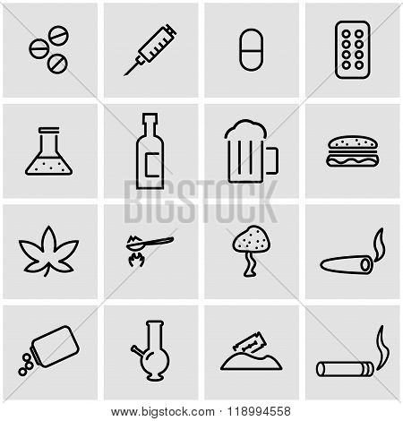 Vector line drugs icon set
