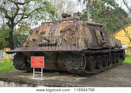 American heavy tank. The Museum of the city of Hue, Vietnam