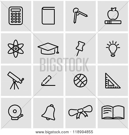 Vector line education icon set