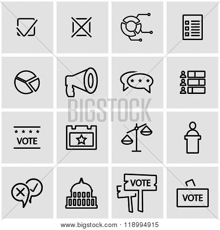 Vector line election icon set