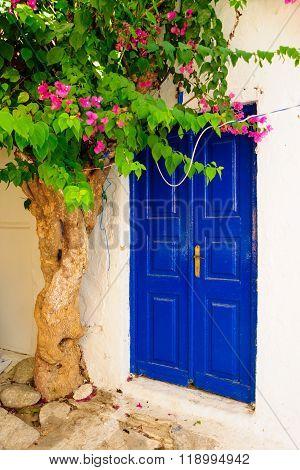 Door In A Typical Greek House, In Mykonos