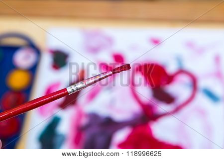 Close Up Of Children's Painting Tools