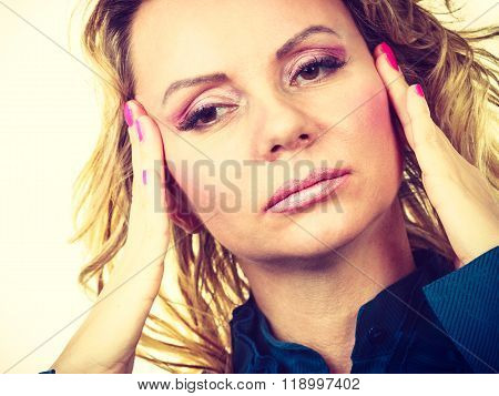Elegant Woman With Headache