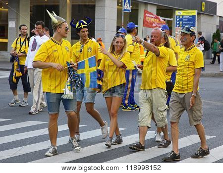 Swedish Football Fans Walk On The Streets Of Kyiv City