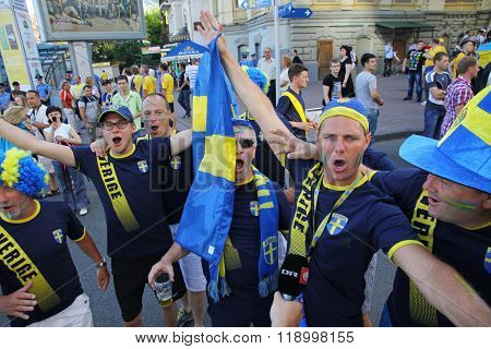 Swedish Football Fans Walks On The Streets Of Kyiv City