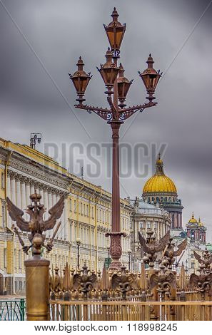 Petersburg Five Carob Lamp Grille With Emblem Of Russia  Background  St. Isaac's Cathedral