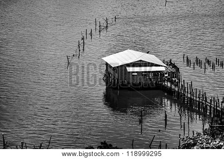 Thai coop for fish farming in black&white