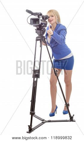 Beautiful Young Woman With Blue Suit And Professional Video Camera
