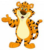 foto of tigress  - Vector illustration of a cheerful tiger presenting with his hand - JPG