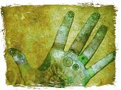 foto of healing hands  - mixed media illustration of hands with reflexology and chakra points - JPG