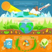 Постер, плакат: Ecology Banner Set design Flat