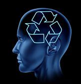 picture of frontal lobe  - Human head with environmental and recycle symbol inside - JPG